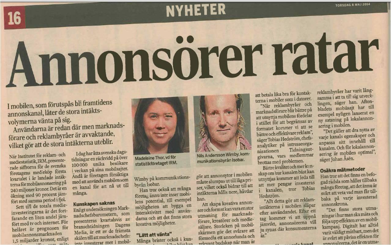 I Dagens Industri om flaskhalsar för mobil reklam