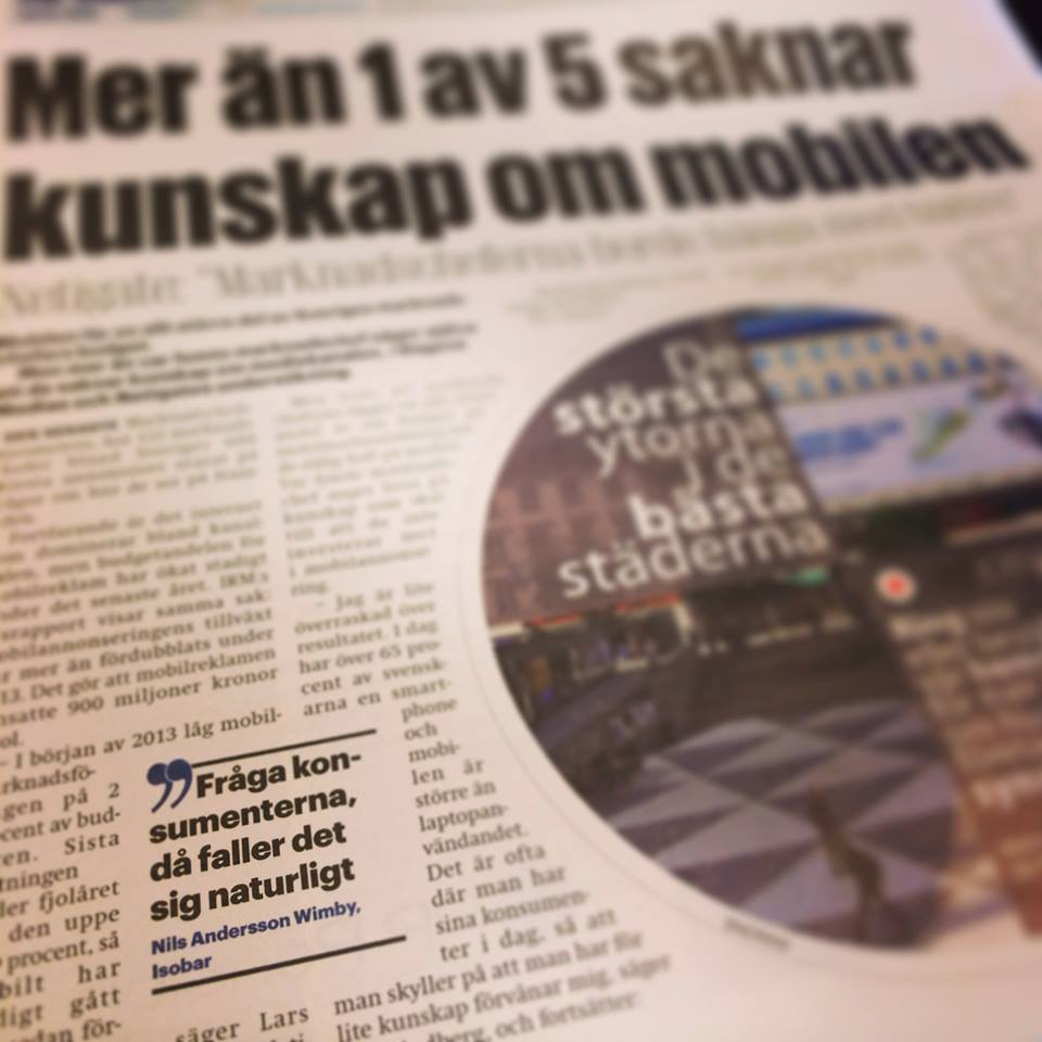 I Dagens Media om mobil okunskap bland marknadschefer