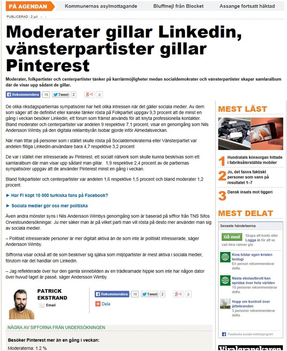 I Metro och Dagensmedia om digital mognad bland partier